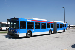 CTA articulated bus with Jump branding. CTA photo.
